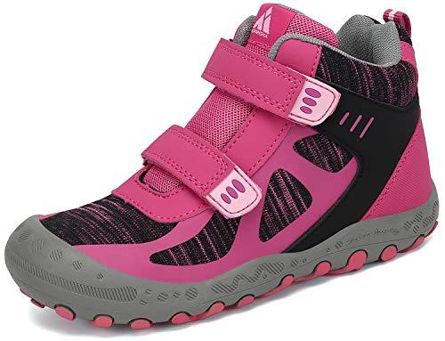 Mishansha Kinder Trekking -& Wanderschuhe Mädchen Trekkingschuhe rutschfest Sneaker mit Klettverschluss Camping Outdoor Sportschuhe Pink 33