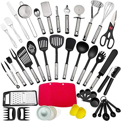 Juego de utensilios de cocina, 43 piezas de utensilios de cocina hechos de acero inoxidable y...