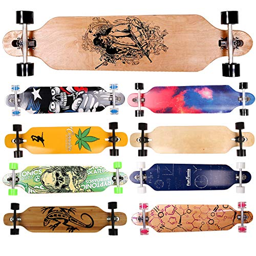 FunTomia Longboard Skateboard Drop Through Cruiser Komplettboard mit Mach1 High Speed Kugellager T-Tool mit und ohne LED Rollen