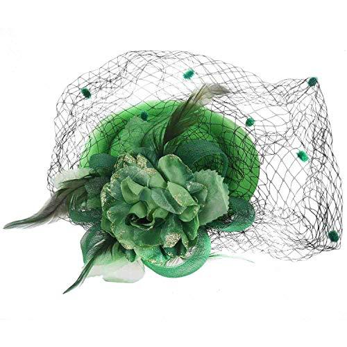 Cuasting Diadema con clip para el pelo, pastillero, sombrero de bolos, flores para boda, fiesta, sombrero verde