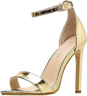 54e9a31bb8415c DOLDOA Chaussures Femme ete Sandales Bout Ouvert Talon Chaussures à Talons  Femme doré Chaussure Mariage Femme