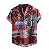 Mens Cotton Linen Shirts Casual Button-Down Blouse Fashion Printed Short Sleeved Top T-Shirts