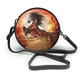 Bolso de mano con diseño de caballo con calaveras para mujer, de piel sintética, con cremallera, redondo, para el trabajo, viajes, citas, personalizado, para el trabajo