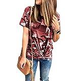 SLYZ Señoras De Verano Europeo Y Americano Cuello Redondo Estampado De Camuflaje Camiseta Suelta De Manga Corta para Mujer