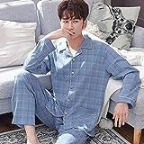 Pijama De Botones Hombre Set,Otoño Invierno Pijamas Clásico Manga Larga Ropa De Noche Loungewear Tradicional Botón Camisa Tops Pantalones Pantalones Pantalones Pantalones Más Tamaño Ropa De Ca