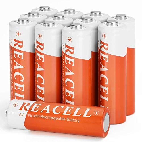 REACELL Solar Rechargeable Battery AA for Garden Solar Lights, 1200mAh 1.2V NiMH AA Rechargeable Batteries for Outdoor Pathway Solar Lights (12 Pack)