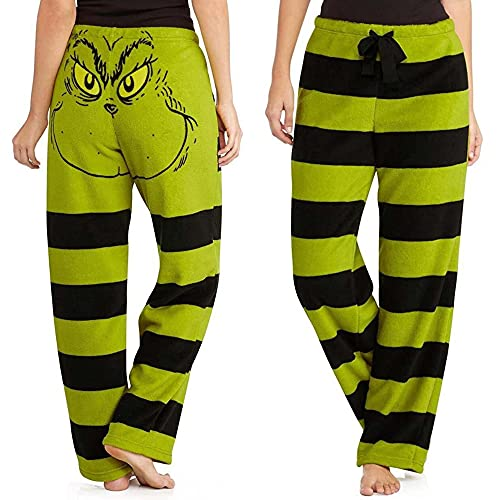 KML Donne Grinch Pantaloni Pantaloni Grinch Stola di Natale Viso di Natale Verde E Nero Pajama Striped Bottoms per Natale 5XL