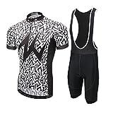 YOUJIA Hombre Outdoor Estampado Conjunto de Ropa Bicicleta Jersey Maillot de Ciclismo + Pantalones Culote Cortos (Motear #2, S)