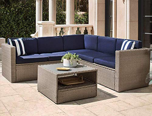 SOLAURA Outdoor 4-Piece(5 Seats) Furniture Sectional Sofa Set All Weather Warm Grey Wicker with Nautical Navy Blue Cushions & Sophisticated Glass Coffee Table Conversation Set