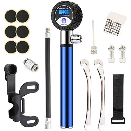 Idefair Portable Bike Pump with Pressure Gauge,120 PSI Mini Bicycle Tire Pump,LCD Universal Bicycle Repair Kit with Presta& Schrader Valve for Road, Mountain Bikes and Ball,Frame Mount