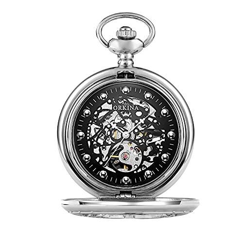 Reloj de bolsillo elegante clásico.Reloj de bolsillo - Vintage Lucky Pocket Watch Classic Mecánico Steampunk Watch Steampunk Reloj de hombre Cadena de cinturón Cadena Romana Tallado Cáscara Classic Po