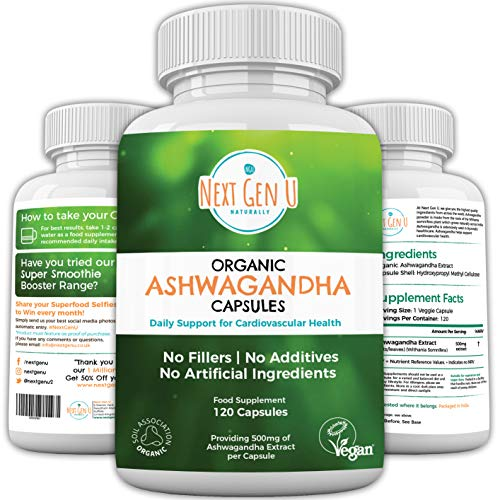 Organic Ashwagandha 500 mg 120 Capsules | 4 Months Supply Easy Swallow | High Strength Withanolides | Soil Association Vegan Society Certified | Ayurveda Supplement Withania Somniferag