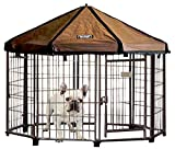 Advantek Pet Gazebo Outdoor Metal Dog Kennel with Reversible Cover, 4 Foot