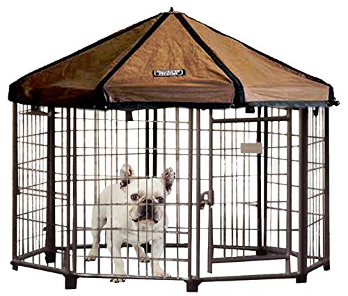 Advantek Pet Gazebo Outdoor Metal Dog Kennel with Reversible Cover