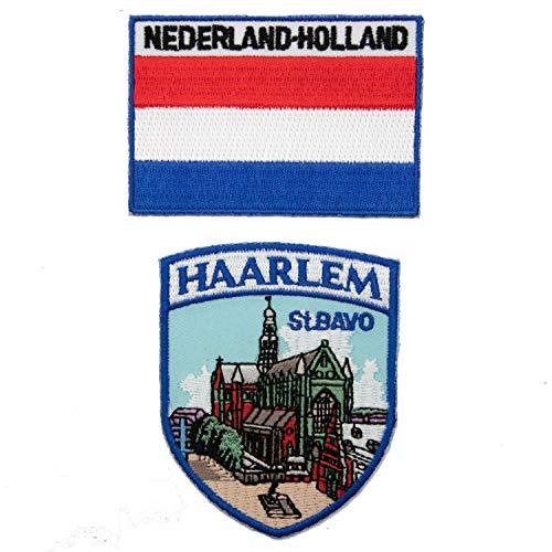 A-ONE - Confezione da 2 toppe in stoffa da chiesa di Haarlem St. Bavo + toppa termoadesiva, simbolo di riferimento ricamato, incollare su decorazioni di lunga durata