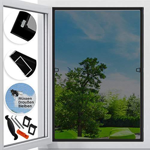 KESSER Fliegenschutzgitter für Fenster | 110 x 130 cm | mit Aluminium Rahmen Fliegengitter Fliegenschutz Insektenschutz, mückengitter, moskitonetz, Spannrahmen, ohne Bohren und Schrauben Anthrazit