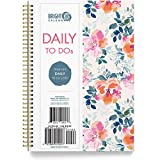 to Do List Daily Task Checklist Planner Time Management Notebook by Bright Day Non Dated Flex Cover Spiral Organizer 8.25 x 6.25 (Floral)