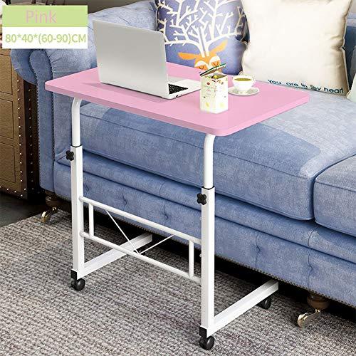 Draagbare laptop-bureau, koolstofstaal, multi-hoek verstelbaar, hoogte instelbaar, slaapzaal, bed, sofa, gazon roze