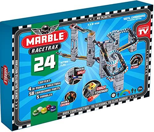 Marble Racetrax 869003 - Murmel Rennbahn Starter Set 24 teilig, Kugelbahn mit 4 Meter Laufstrecke & 5 Murmeln, Murmelbahn Bastelset, Bauset aus FSC Karton, Konstruktionsset für Kinder ab 7 Jahre