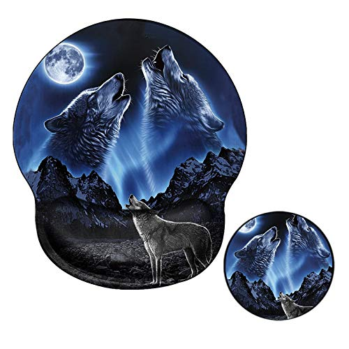 Ergonomic Mouse Pad with Wrist Support No-Slip Gel Mouse Mat Pads with Wolf Cute Gaming Computer Mousepads Desk Accessories for Women Men