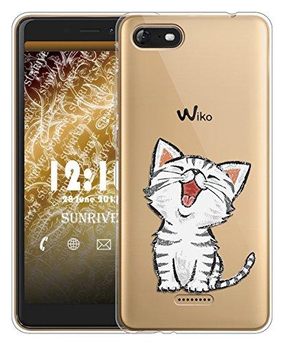 Sunrive Für Wiko Tommy 3 Hülle Silikon, Transparent Handyhülle Schutzhülle Etui Hülle für Wiko Tommy 3(TPU Katze 2)+Gratis Universal Eingabestift