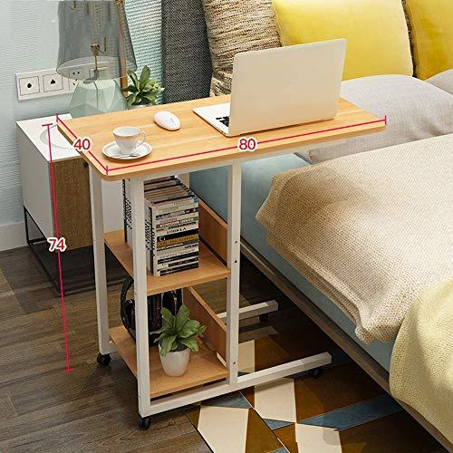 FEI Overbed Table Laptop Cart Table d'ordinateur Table d'appoint pour lit ou canapé Bureau d'ordinateur portable avec roues 5 couleurs (Couleur : Maple)