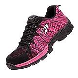 Zapatos de Trabajo Anti-presión,Ligeras con Puntera de Acero Zapatos de Trabajo Zapatillas de Seguridad Antideslizante Unisex,Pink▁45