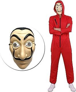 Amycute 2 PCS Disfraz de Ladrón y Máscara, Salvador Dalí Mono Rojo Adulto para Cosplay Carnaval Festival de Musica S(160-165cm)