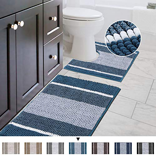 Original Striped Luxury Chenille Bathroom Rug Mat (32' x 20'/20' x 20'), Extra Soft & Absorbent Shaggy Rugs, Machine Wash/Dry, Perfect Plush Carpet Mats for Tub (Curved Set, Moroccan Blue)