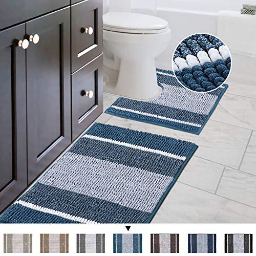 Original Striped Luxury Chenille Bathroom Rug Mat (32' x 20'/20' x 20'), Extra Soft & Absorbent...