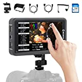 On Camera Field Monitor 5.5 inch, MOMAN M5 Touch Screen DSLR Monitor 500 nits 1920*1080 Full HD with 3D LUTs/HDR/4K HDMI Input Output for DSLR Mirrorless Cameras Gimbal Stabilizer Canon Sony Nikon