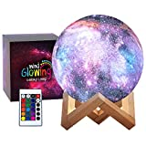 3D Galaxy Moon Lamp by Mind-glowing - Cool Kids Galaxy Moon Night Light (Large, 5.9in) with 16 LED Colors, Touch & Remote Control, Wooden Stand - Unique Gift for 3 4 5 6 7 Year Old Girls & Boys