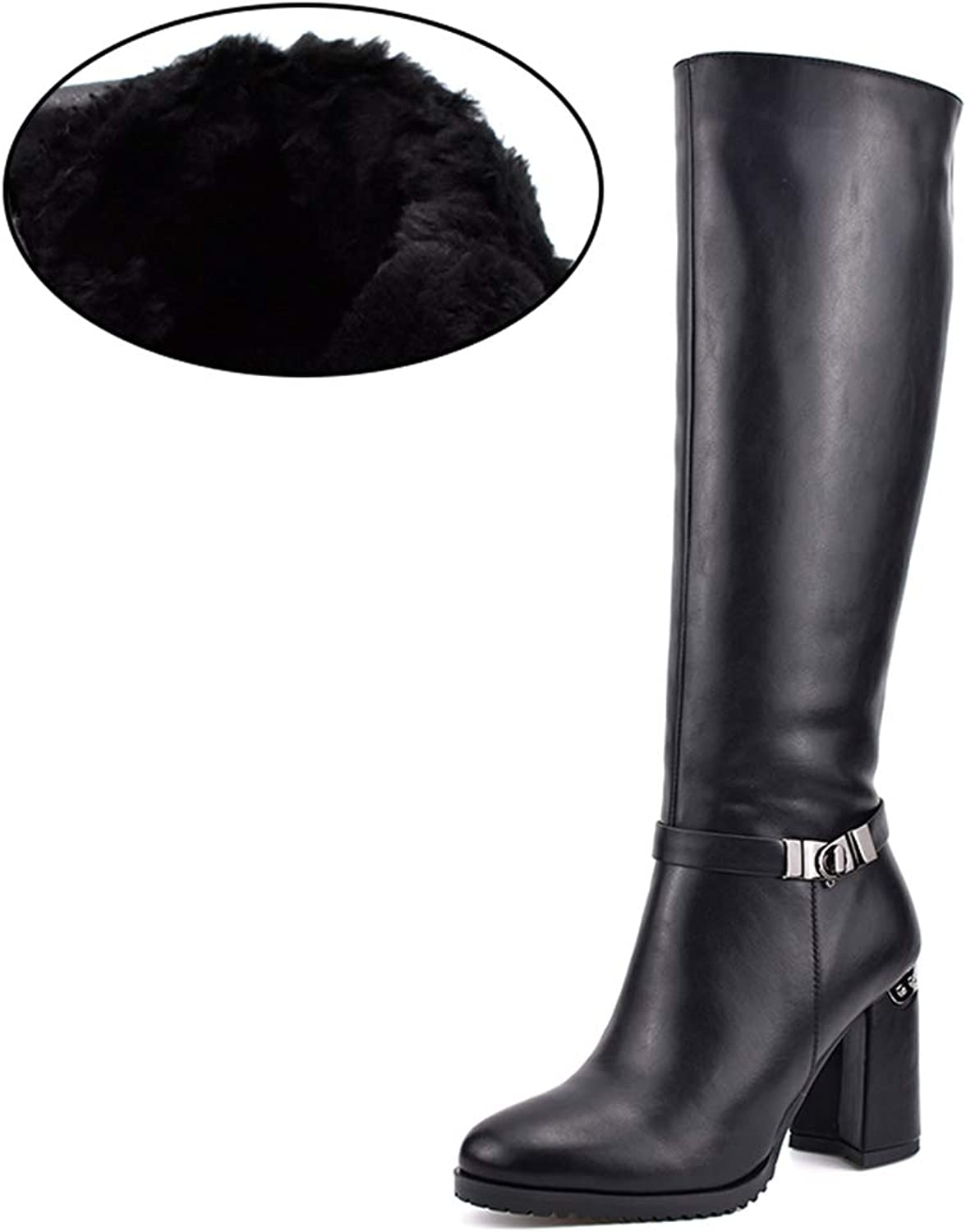 T-JULY Women's Autumn Winter Thick Plush Warm Knee High Boots Zip Fashion Hoof Heels with Metal Buckle Elegant shoes