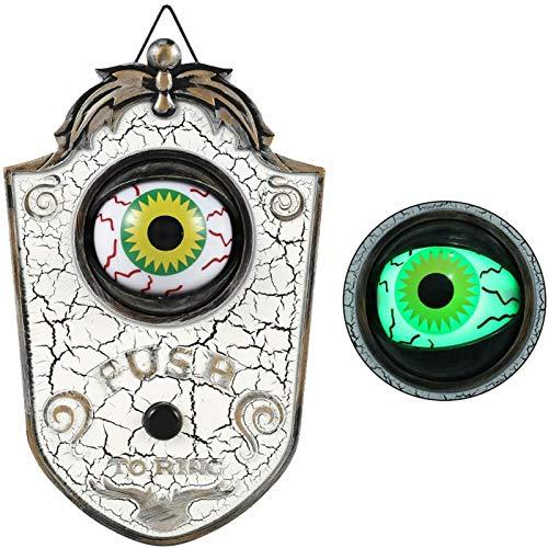 Mauel Animados Globo Ocular Timbre De La Puerta, Timbre De Halloween Creativo Espeluznante, Halloween Iluminado Talking Eyeball Timbre Prop Spooky Toy Regalo,White b