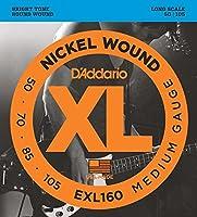 D'Addario EXL160 ロングスケール Medim(50-105) ダダリオ ベース弦 EXL-160 【国内正規品】