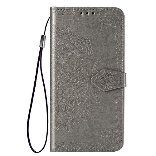 YIKLA Funda para Xiaomi MI 11 Lite, Mandala Folio PU/TPU Cuero Wallet Case, Diseño con Ranuras para Tarjetas, Cierre Magnético, Premium Flip Wallet Cover - Gris