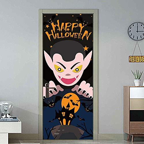YQLKD 3D Vinilo para Puertas Halloween Demon Castle Bat Pegatinas Pared Ventana Puerta Decoración para El Hogar