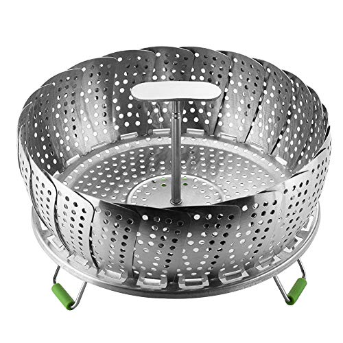 IWILCS Cesta Vaporera Plegable, Inserto de Vapor de Acero Inoxidable, Steamer Cesta Plegable, para cocinar Alimentos al Vapor, cocinar, Colocar Verduras y Frutas(9 Pulgadas)