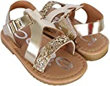 bebe Girls Metallic Glitter Sandals, Gold, 9 M US Toddler'