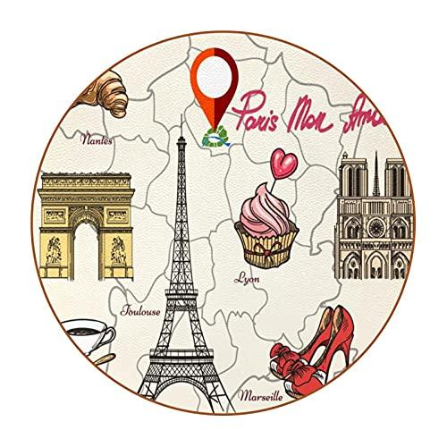 Juego de 6 posavasos para bebidas, diseño de Paris Tour y comida redondo, resistente al calor, platillos reutilizables para el hogar, restaurante, oficina y bar, 10 cm