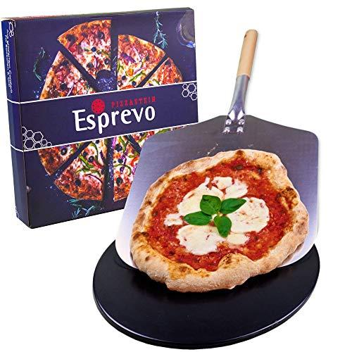 Esprevo Pizzastein für Backofen und Gasgrill | Pizzastein-Set mit Pizza-Schieber & Videokurs | Pizza-Stein rund 33cm mit Beschichtung aus glasiertem Cordierit