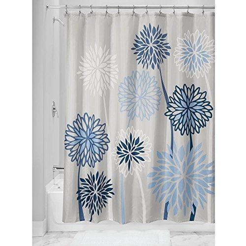 InterDesign Botanical Poly Cortina de ducha para el baño, cortina de bañera de poliéster con motivos florales de 183 cm x 183 cm, gris y azul