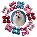 petalk 20PCs/Pack Dog Bows Puppy Topknot 2-Lays Love Small Dog Hair Bows with Rubber Bands Dog Grooming Accessories (Color 1)