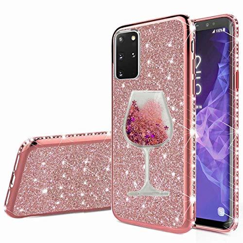 Nadoli Galaxy A51 Glitzer Hülle,Kristall Diamant Strass Bumper mit 3D Fließend Flüssig Treibsand Weinglas Silikon Handyhülle Frauen für Samsung Galaxy A51
