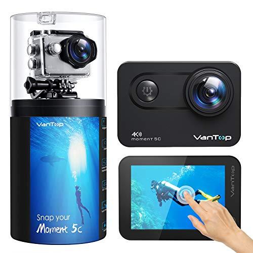 Caméra Sport Native 4K 60fps, VanTop Écran Tactile WiFi 20MP Caméra sous-Marine, 170°Angle,40M Étanche,EIS, 2.4G Télécommande et Kit d'accessoires Complet