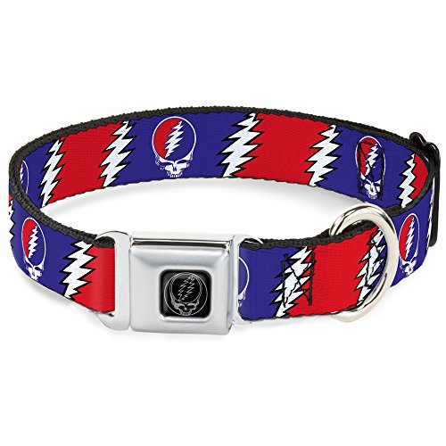 Buckle-Down DC-WGD019-S Seatbelt Dog Collar, Small, Steal Your Face w/Lightning Bolt Repeat Red/White/Blue