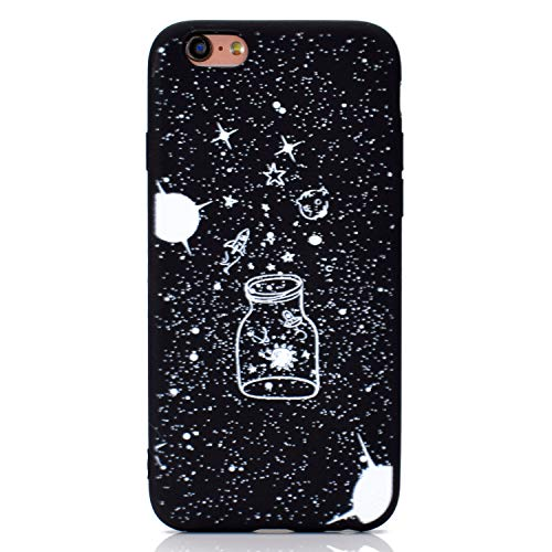 Nodigo Funda Compatible con iPhone 6s Plus/iPhone 6 Plus Silicona Dibujos Motivo Negro Creativo Ultrafina Slim One Piece Carcasa Case Antigolpes Bumper Kawaii Resistente TPU Cover - Botella