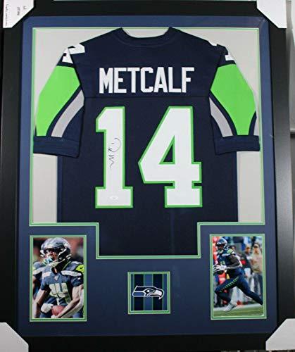 DK METCALF (Seahawks blue PRO) Signed Autographed Framed Jersey w/JSA - Autographed NFL Jerseys