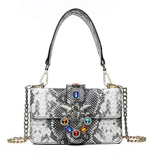 Lässige Schlangenleder-Diamant-Schwalben-Tasche, modisch, breiter Schultergurt, Schultertasche, weiß (Weiß) - sadh-195