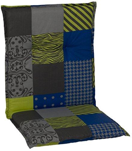 beo Chaises Coussin avec Bordure pour Fauteuil à Dossier Bas Design Patchwork, Env. 98 x 48 x 6 cm, Bleu/Vert/Gris/Multicolore